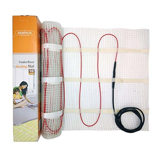 Fliesen-heizungs-matte (1m² premium qualität 200w/m² fußbodenheizung matte dual-core elektrische kabel, größe unter fliesen heizung boden selbstklebende matte)