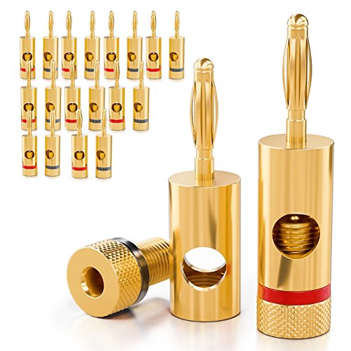 deleyCON [20 Stück] Bananenstecker Sets 24K vergoldet und schraubbar für Kabel/Boxen/Verstärker/AV-Receiver/Endstufen/Hifi/Stereoanlagen