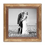 PHOTOLINI Bilderrahmen 20x20 cm Gold Barock Antik Massivholz mit Glasscheibe und Zubehör/Fotorahmen / Barock-Rahmen