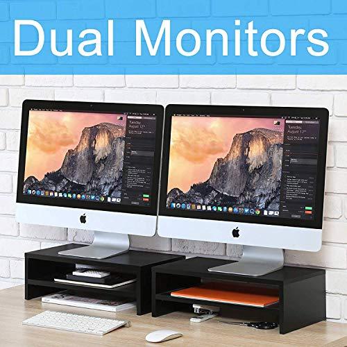 FITUEYES Support avec 2 Tablettes pour Réhausseur Moniteur Stand Lever PC Ecran/Ordinateur/iMac en Bois Noir DT204202WB