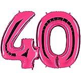 PartyMarty Ballon Zahl 40 in Pink - XXL Riesenzahl 100cm - zum 40. Geburtstag - Party Geschenk Dekoration Folienballon Luftballon Happy Birthday Rosa GmbH