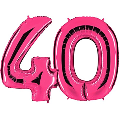 Ballon Zahl 40 in Pink - XXL Riesenzahl 100cm - zum 40. Geburtstag - Party Geschenk Dekoration Folienballon Luftballon Happy Birthday Rosa - PARTYMARTY