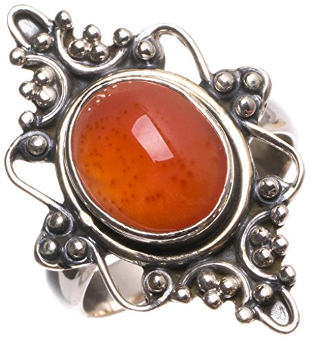 stargems (TM) Natürliche Karneol handgefertigt Einzigartige 925Sterling Silber Ring, UK Größe P