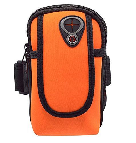 Neopren Sport Running Gym Reißverschluss Armband Fall Beutel für iPhone 8Plus/iPhone X/Samsung Galaxy Note 8/S9/S9Plus/J7Prime 2/Galaxy A6/J6/LG G7/LG V30/LG K30/OnePlus 6, Orange