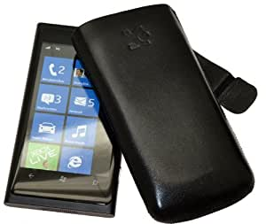 Original Suncase Tasche fuer / Nokia Lumia 800 / Leder Etui Handytasche Ledertasche Schutzhuelle Case Huelle *Speziell - Lasche mit Rueckzugfunktion* In Schwarz
