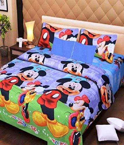 BSB HOME? Glace Cotton 3D Printed Double Bedsheet with 2 (Two) Pillow Covers (Case) Color- Blue Micky