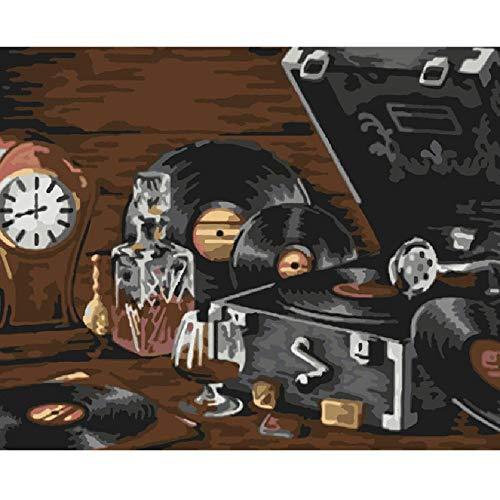 Holz Puzzle DIY Puzzles 1000 Stück Alten Plattenspieler Stillleben Moderne Kunst Besonderes Geschenk Spiel Home Decoration (Plattenspieler Moderne)