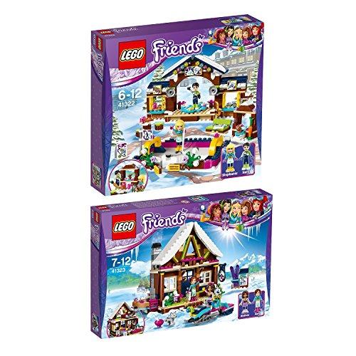 Lego Friends 2er Set 41322 41323 Eislaufplatz im Wintersportort + Chalet im Wintersportort