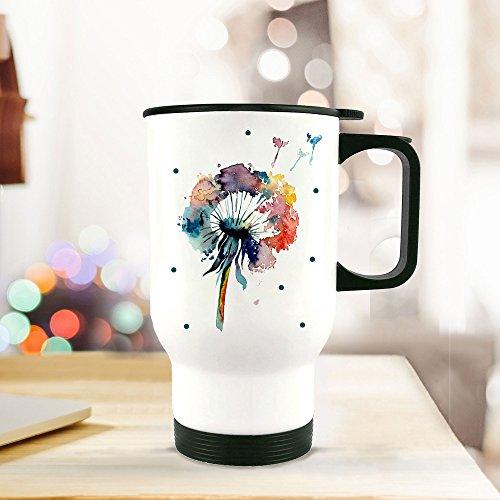 ilka parey wandtattoo-welt® Thermobecher Thermotasse Thermosflasche Becher Tasse Kaffeebecher Pusteblume Blume Löwenzahn aquarell bunt tb070