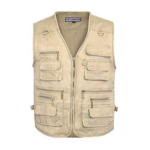 Belloo Herren Outdoor Baumwolle Weste mit Vielen Taschen für Jagd,Khaki,7XL