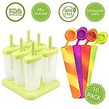 4 Moldes de silicona para helados multi color mas 6 moldes reutilizables para polos con base anti-deslizante (10 paquetes) Tapas Calippo anti-goteo gratis libres de BPA
