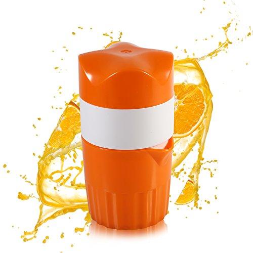 Zitruspresse, Handpresse, tragbar, für Orangen (Farbe:Orange und weiß).