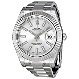 Rolex Mens 41mm Steel Bracelet & Case Sapphire Crystal Automatic Silver-Tone Dial Watch m116334-0010
