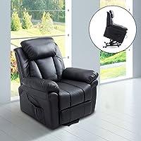 Homcom Fauteuil de relaxation électrique fauteuil releveur inclinable avec repose-pied ajustable simili cuir noir neuf 13BK