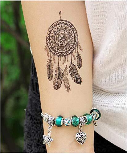 Tatuajes temporales para hombre y mujer con plumas de mandala y tatuaje temporal, 10,5 x 6 cm