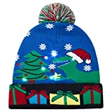 AIDEAONE Light-up Knitted Ugly Maglione cap Cartoon Pattern Christmas Light Hat per Party Lightshow