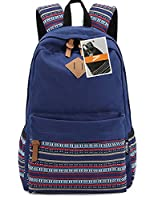 Leaper Lightweight Canvas School Backpack Strip Flower Laptop Shoulder Bag Travel Rucksack(Large, Navy Blue Flower)