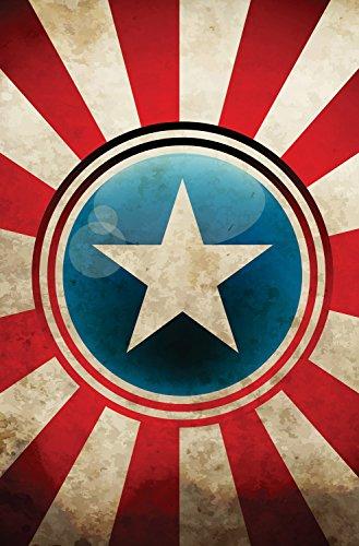 3Ziegelsteinwand abnehmbar Wandbild Canvas-Captain America Shield Superhelden Avengers bei 2'Breite, 3' Hohe (Superhelden-dekor)