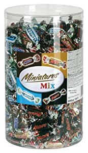 Miniatures Mix (Mars, Bounty, Twix, Snickers), ca. 296 pièces, boîte transparente -...