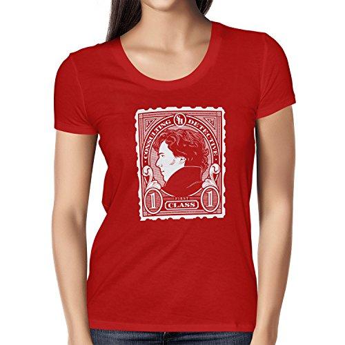 TEXLAB - Sherlock Consulting Detective - Damen T-Shirt, Größe L, rot (Cumberbatch Sherlock Kostüm)