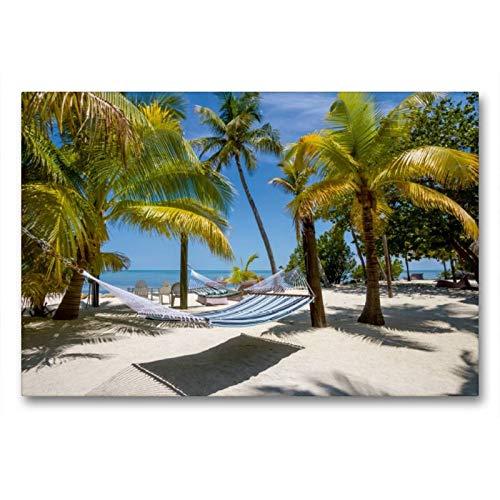 Calvendo Premium Textil-Leinwand 90 cm x 60 cm quer, Florida Keys Himmlischer Ort   Wandbild, Bild auf Keilrahmen, Fertigbild auf echter Leinwand, Leinwanddruck: Paradiesische Idylle Orte Orte