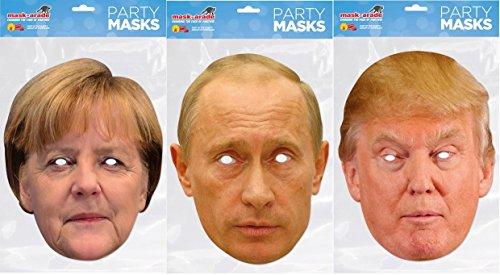 Angie , Donald and Vladi Masken-Pack er Maskenpack mit Donald Trump , Angela Merkel und Vladimir Putin