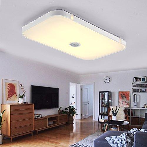 Dimmbare Deckenleuchte mitFernbedienung and Bluetooth Lautsprecher 90W fürWohnzimmer,Schlafzimmer,KücheundEsszimmer(Weiß) JDONG 10507B-90W-LY