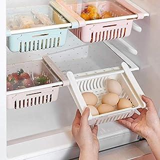 HapiLeap kühlschrank Schubladen, Einstellbare Lagerregal Kühlschrank Partition Layer Organizer, Ausziehbare Kühlschrank Schublade Organizer Kühlschrank Aufbewahrungsbox (4 Stück)