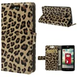 Handytasche Business Case Cover LG L90 / D405 - STAND BOOK Etui Flip Leopard