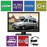 HKC 17H2 17,3 Zoll (43,94 cm) LED-Fernseher (HD-Ready, Triple Tuner DVB-T2/S2/T/S/C, CI+.265/HEVC. 230V / 12V Kfz-Adapter, schwarz) [Energieklasse A +]