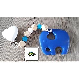 Beißkette Elefant- Holz/weiß/blau
