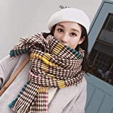 Yomihome Scarf Winter Soft Warm Men Women Ladies Shawl,Classic Houndstooth Bib British Fashion Warm Big Shawl Scarves,Coffee