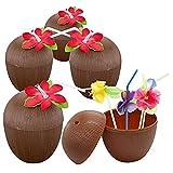 Ruier-hui Hawaii Accessoire Kokosnuss Becher mit Blumen-Trinkhalm, Kokos Becher Hawaii deko für Party, Geburtstag, Hochzeit, Sommerfest,12pcs