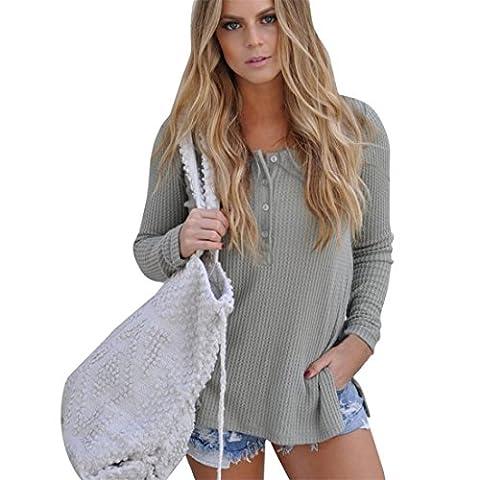Goodsatar à manches longues Tricoter de femmes col rond Chemisier T-shirt (XL, Gris)
