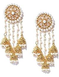 e5789fca5 Zeneme Jewellery Gold Plated Pearl Fancy Party Wear Jhumka/Jhumki Earrings  For Women Traditional Earrings