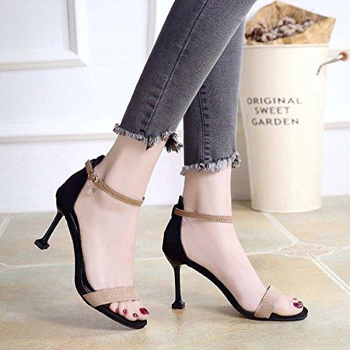WHL Shoes Hochhackige Schuhe Sandalen Ausgesetzt Sommer Geschlitzten Befestigungen Terrasse Und Fein Mit Matt Ausgesetzt Beige 36 (Matt Gürtelschlaufe)