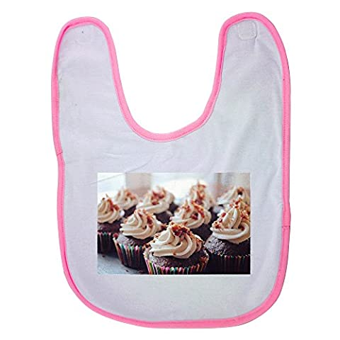 Pink baby bib with Cupcakes, Dessert, Frosting, Food, Cake