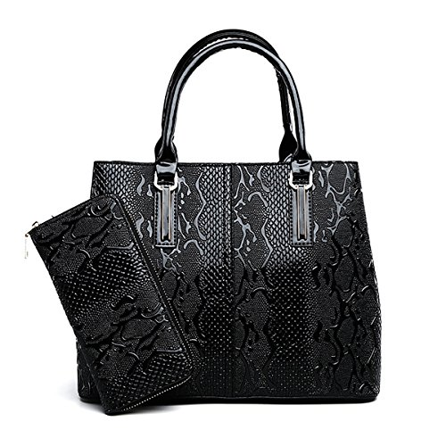Coolives Damen Tier Textur Quadratischer Langer Schultergurt Handtaschen Set Schwarz EINWEG