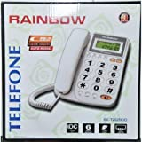 TrAdE shop Traesio® TELEFONO CON TASTI GRANDI VIVACE DISPLAY LCD EXTRA LARGE RAINBOW T2025CID NERO