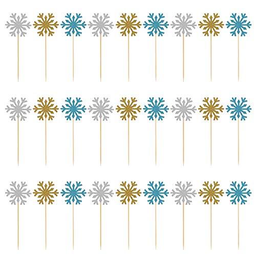 Kesote 30 Stück Cupcake Topper Kuchen Deko Food Picks Schneeflocke Weihnachten Deko, Gold + Silber + Blau -