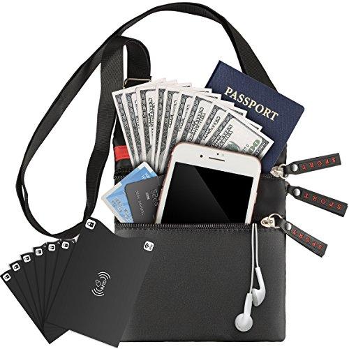 Mojidecor borsello portacellulare unisex borsa a tracolla con custodie blocco rfid per carta di credito passaporto, impermeabile sacchetto per carta denaro passaporto telefono chiavi e piccoli oggetti