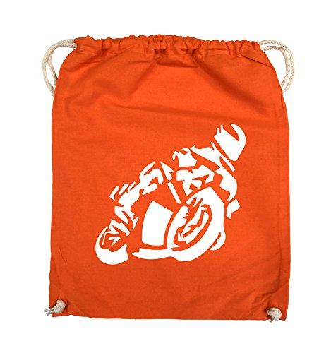 Comedy Bags - MOTORRAD Motorradfahrer GROß - Turnbeutel - 37x46cm - Farbe: Schwarz / Pink Orange / Weiss