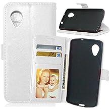 XHD-Caso de protección Funda de cuero para LG Nexus 5 Premium PU, funda de silicona Flip Case con ranura para tarjeta y dinero en efectivo para LG Nexus 5 Durable y personalidad ( Color : White , Size : LG Nexus5 )