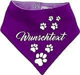 KLEINER FRATZ beidseitiges Multicolor Hunde Wende- Halstuch (Fb: lila-pflaume) (Gr.2 - HU 31-35 cm) mit Ihrem Wunschtext