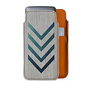 DailyObjects Blue Arrow Real Leather Wallet Mobile Case Cover for Motorola Moto E4 Plus