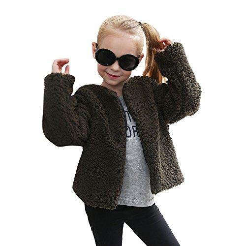 Kaschmir-print Cardigan (Longra Baby Kinder Winterjacke Mädchen Faux Kaschmir Mantel Kinderjacke Schneejacke Parka für Mädchen Wintermantel Woolmantel Thick Warm Outwear (3-8Jahre) (110CM 5Jahre, Army Green))