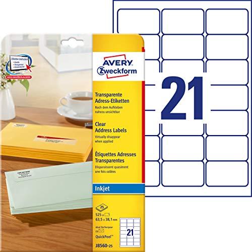 AVERY Zweckform J8560-25 Adressetiketten/ Adressaufkleber (63,5x38,1mm auf DIN A4, bedruckbar, selbstklebend, ideal für DIN B6/C6 Briefkuverts, für Inkjet-Drucker, 525 Etiketten, 25 Blatt) transparent