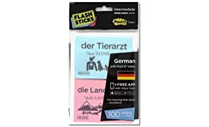 "FlashSticks Deutsch lernen, Level 2  ""Intermediate"", Post-it (rosa und blau)"