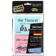"""FlashSticks Deutsch lernen, Level 2  """"Intermediate"""", Post-it (rosa und blau)"""