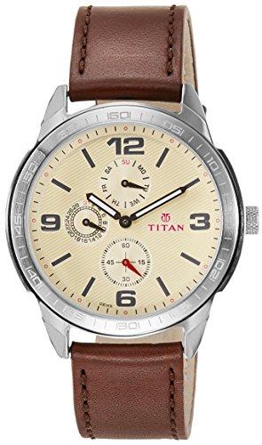 Titan Purple Upgrades Analog Off-White Dial Men's Watch - 1585SL05 image